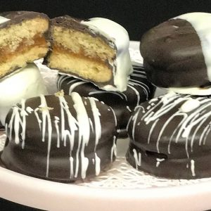 Chocolate Dipped Alfajor Cookies